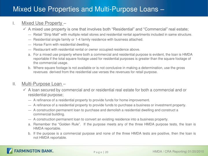 Mixed Use Properties and Multi-Purpose Loans –