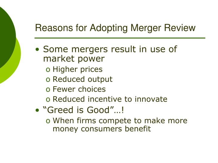 Reasons for adopting merger review