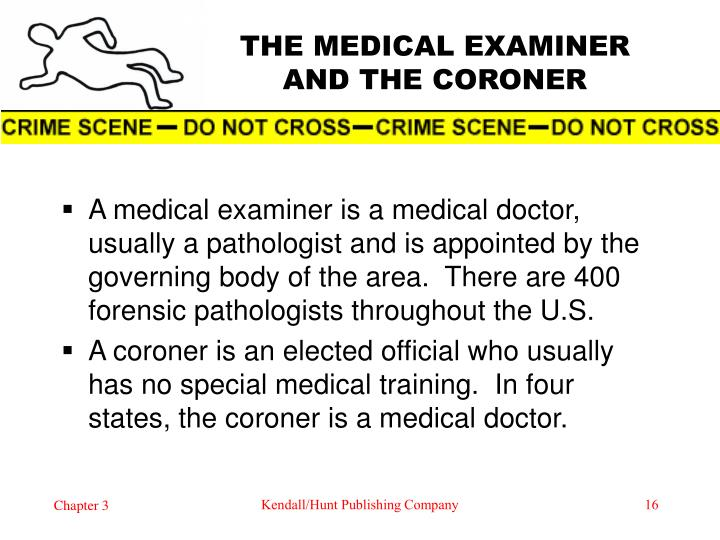 THE MEDICAL EXAMINER AND THE CORONER