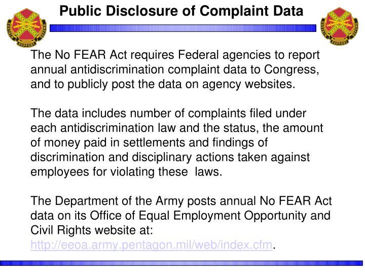 Public Disclosure of Complaint Data