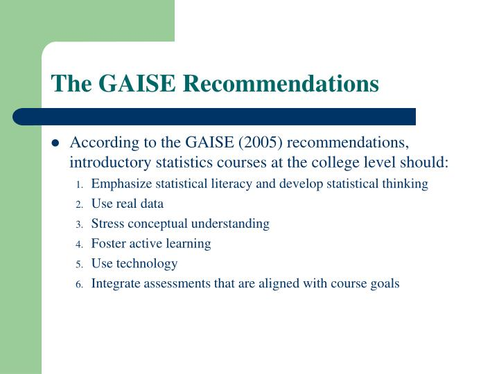 The GAISE Recommendations