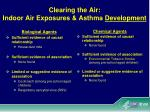 clearing the air indoor air exposures asthma development