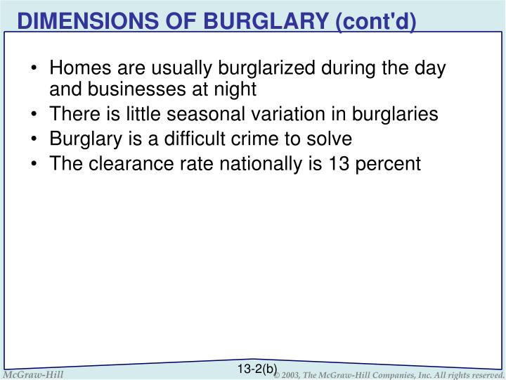 DIMENSIONS OF BURGLARY (cont'd)