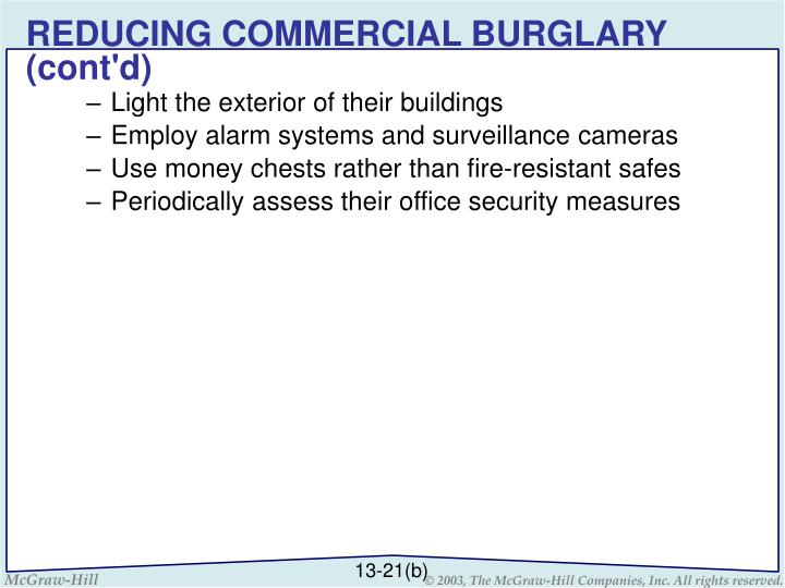 REDUCING COMMERCIAL BURGLARY (cont'd)