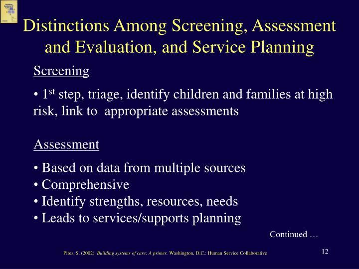 Distinctions Among Screening, Assessment