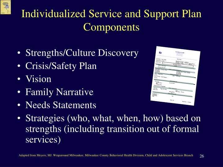 Individualized Service and Support Plan Components