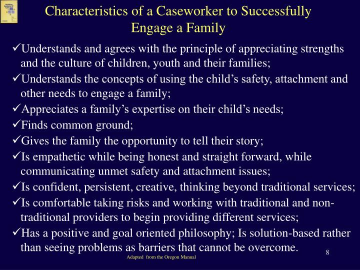 Characteristics of a Caseworker to Successfully Engage a Family