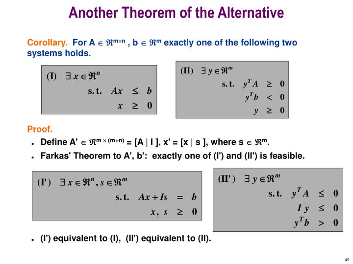 Another Theorem of the Alternative