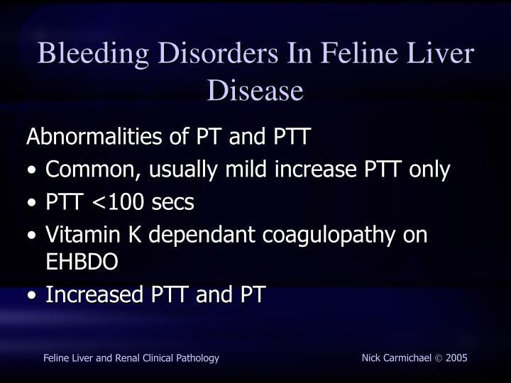 Bleeding Disorders In Feline Liver Disease