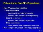 follow up for non ppl prescribers