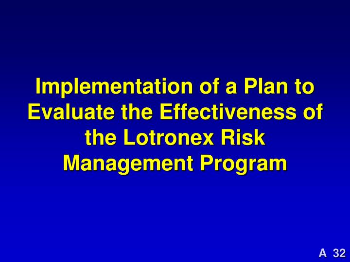 Implementation of a Plan to Evaluate the Effectiveness of the Lotronex Risk Management Program