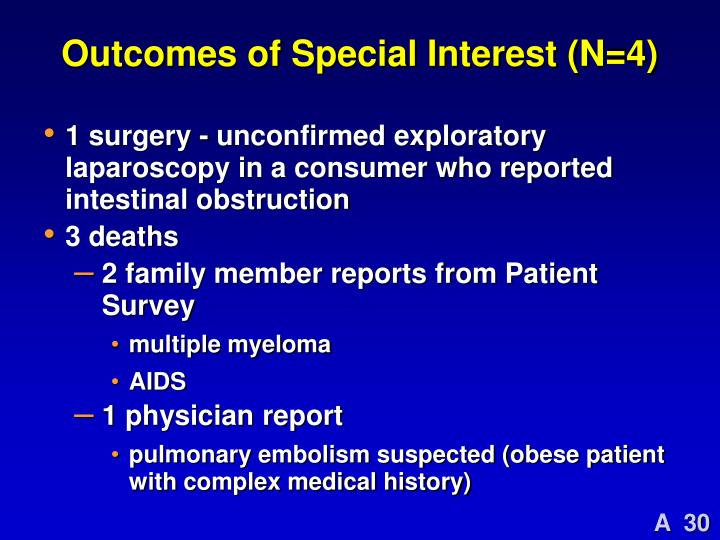 Outcomes of Special Interest (N=4)