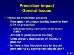 prescriber impact general issues