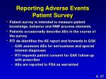 reporting adverse events patient survey