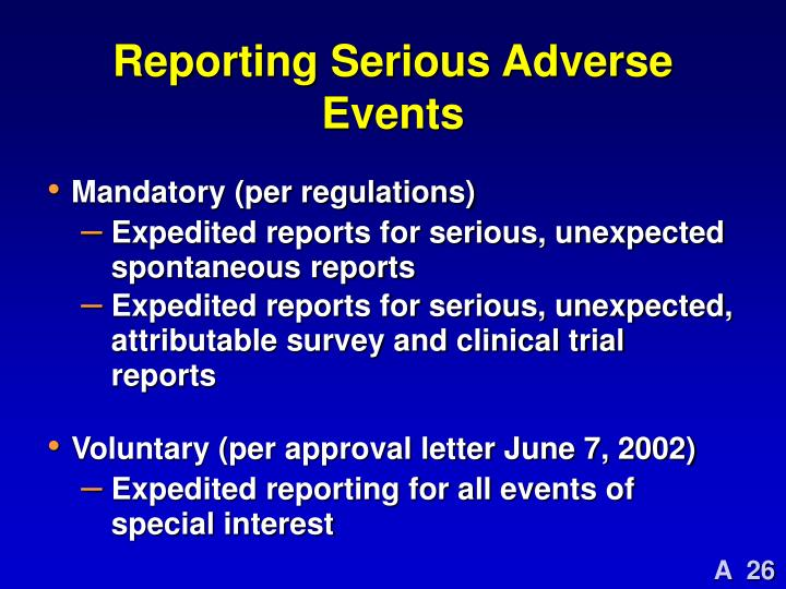 Reporting Serious Adverse Events