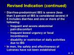 revised indication continued