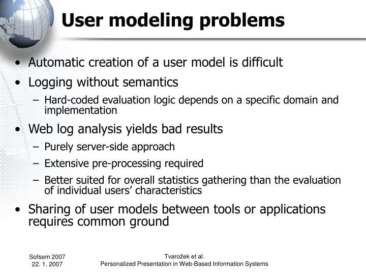 User modeling problems