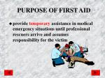 purpose of first aid