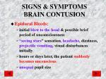 signs symptoms brain contusion