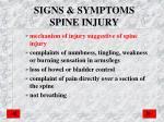 signs symptoms spine injury