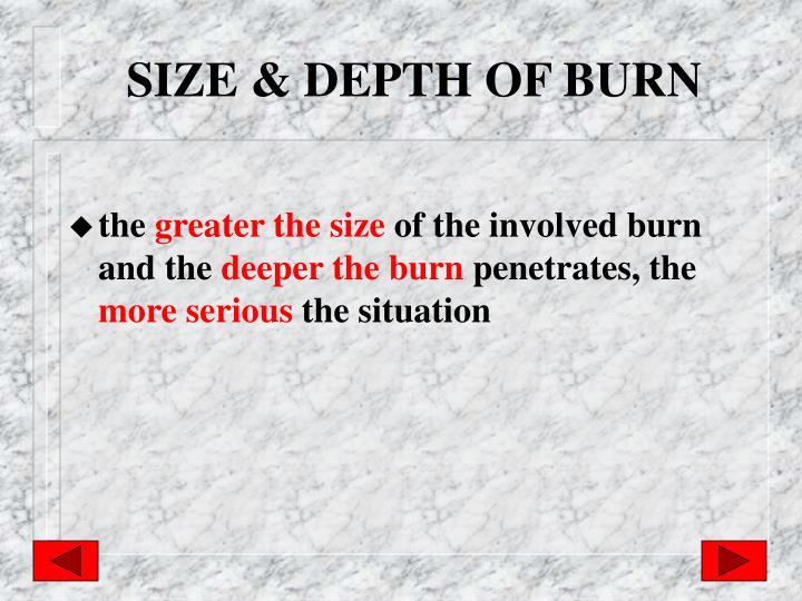 SIZE & DEPTH OF BURN