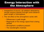 energy interaction with the atmosphere