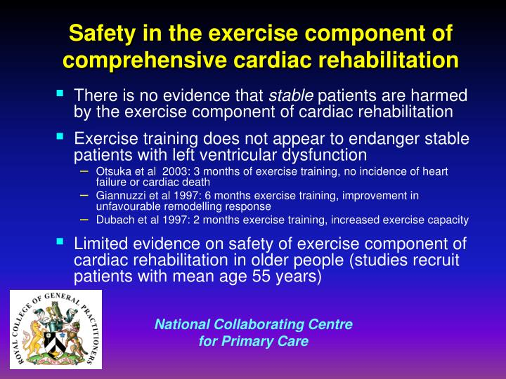 Safety in the exercise component of comprehensive cardiac rehabilitation