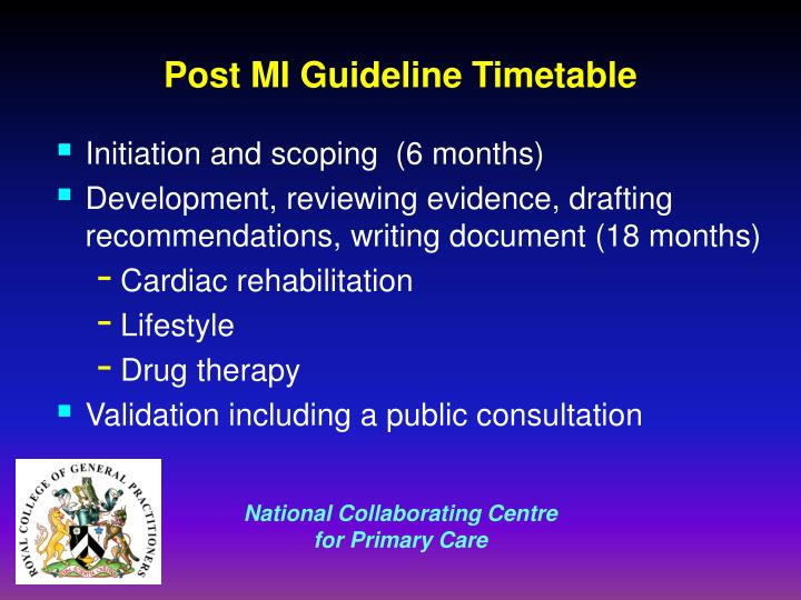Post MI Guideline Timetable