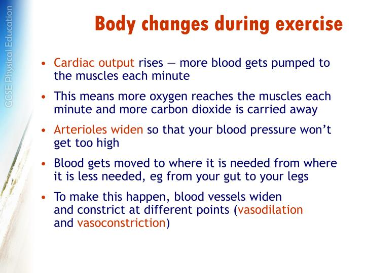 Body changes during exercise