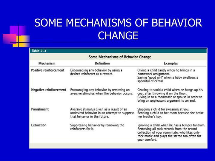SOME MECHANISMS OF BEHAVIOR CHANGE
