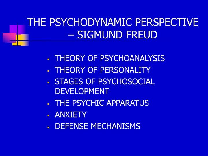 THE PSYCHODYNAMIC PERSPECTIVE – SIGMUND FREUD