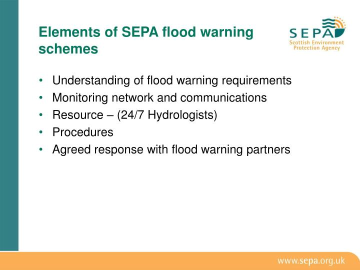 Elements of sepa flood warning schemes