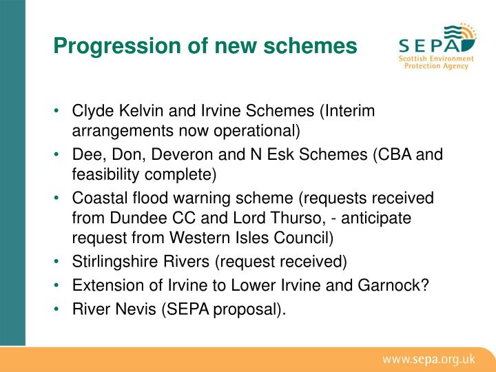 Progression of new schemes