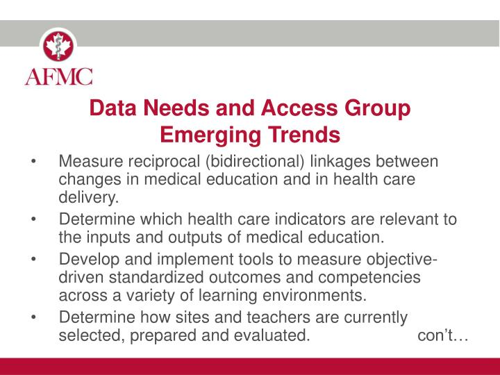 Data Needs and Access Group