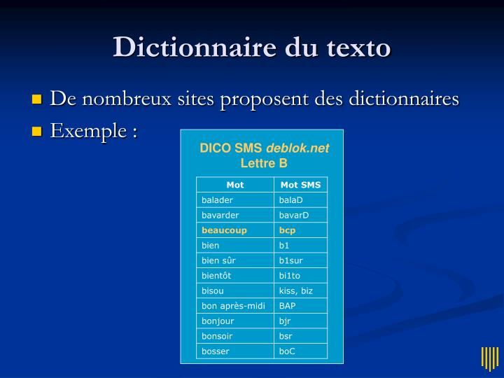 Dictionnaire du texto
