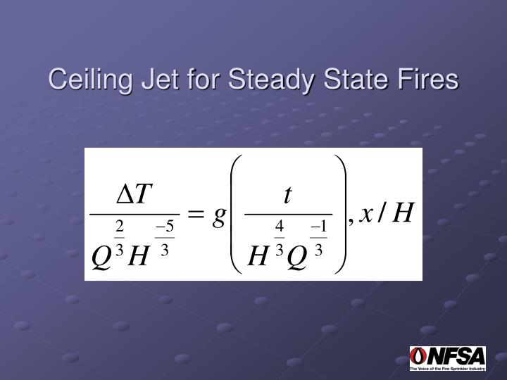 Ceiling Jet for Steady State Fires