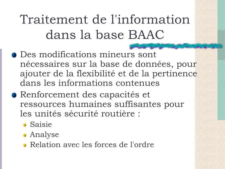 Traitement de l'information dans la base BAAC