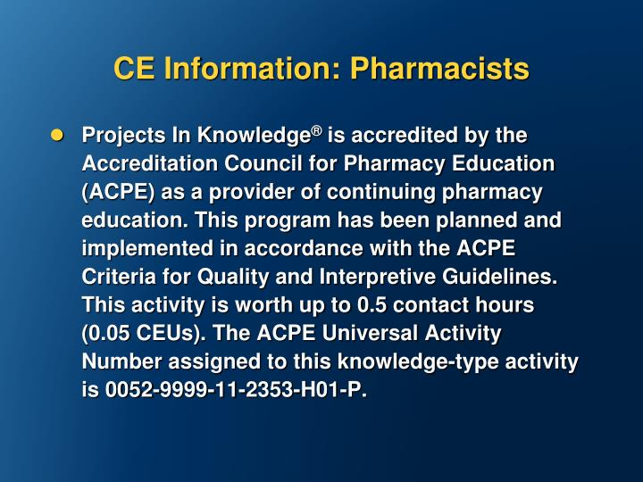 CE Information: Pharmacists