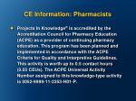 ce information pharmacists