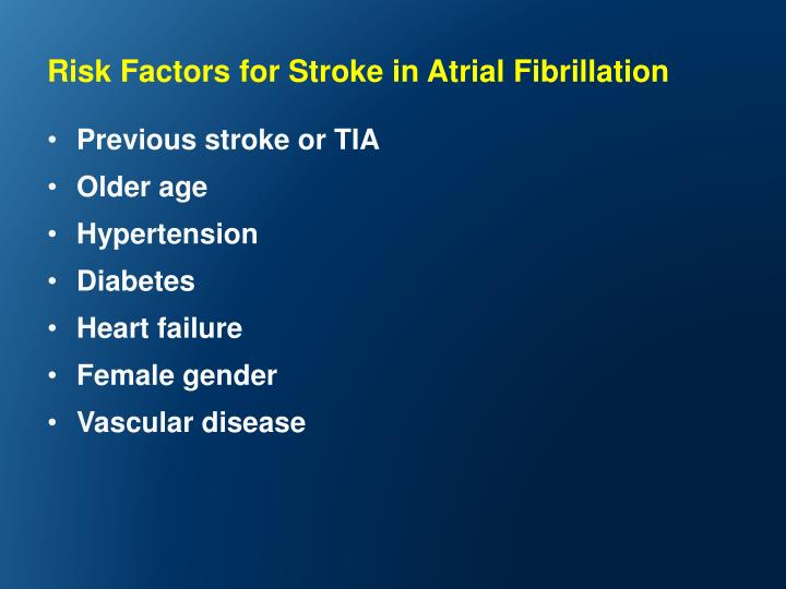 Risk Factors for Stroke in Atrial Fibrillation