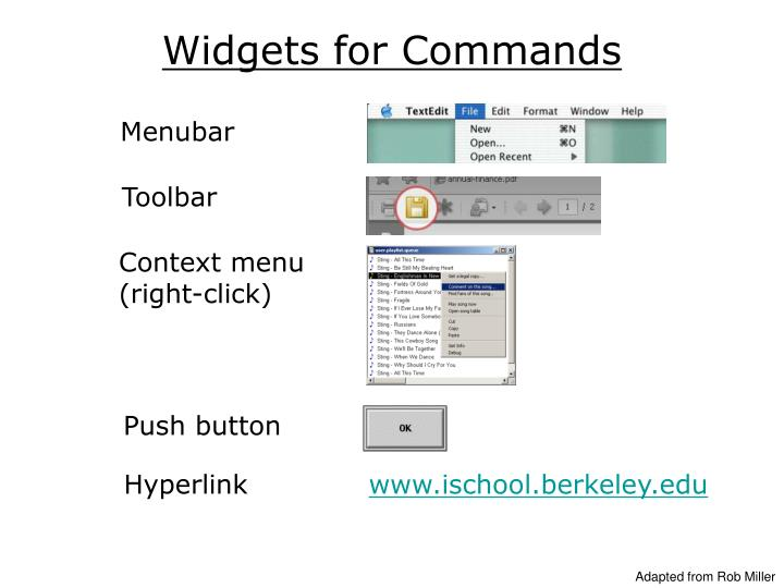 Widgets for Commands