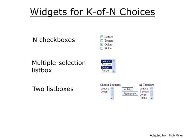 Widgets for K-of-N Choices