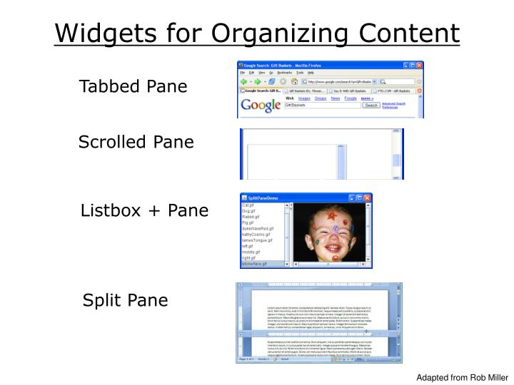 Widgets for Organizing Content