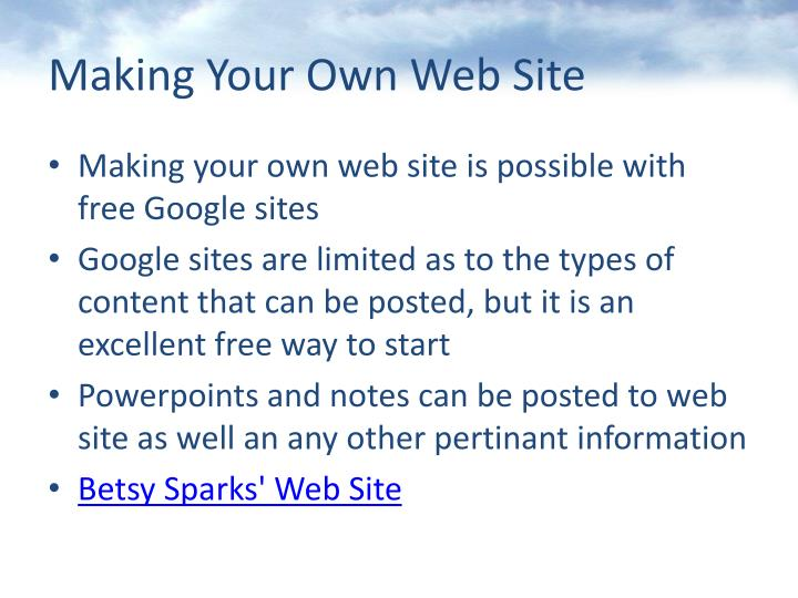 Making Your Own Web Site