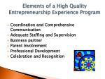 elements of a high quality entrepreneurship experience program1