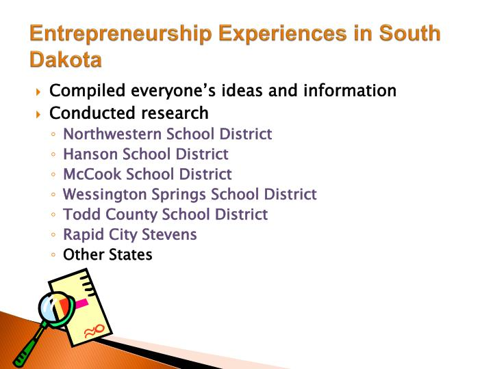 Entrepreneurship Experiences in South Dakota