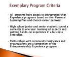 exemplary program criteria