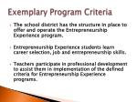 exemplary program criteria1