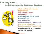 learning about the entrepreneurship experience capstone