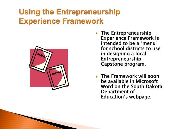 Using the Entrepreneurship Experience Framework